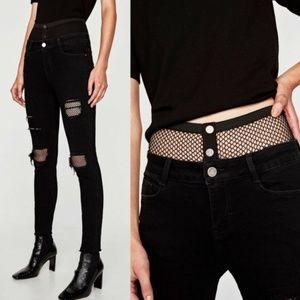 Zara Basic Z1975  Fishnet Jeans Punk Goth